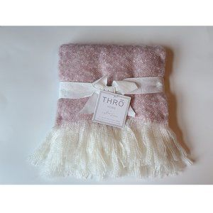 Faux Mohair Lilac and Ivory Baby Throw
